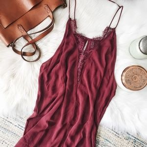 Free People Parisian Night slip dress-burgundy